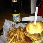 An Annex burger and a Summer Shandy