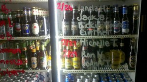The cooler at The Annex with a birthday list
