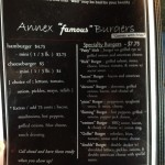 The Annex Menu - Famous Burgers