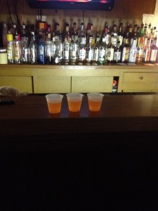 Shots lined up on the bar at The Annex