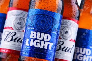 Bottles of Bud and Bud Light beer